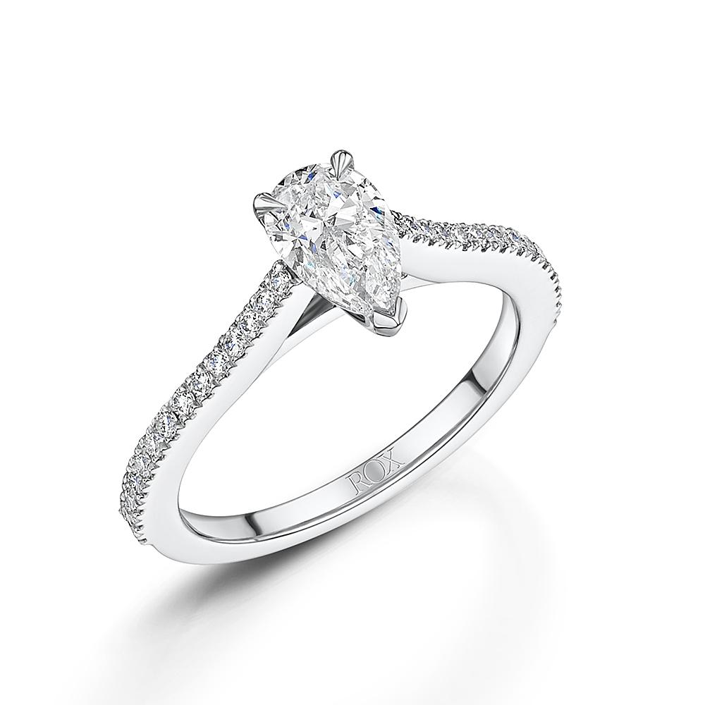 ROX Love Pear Cut Diamond Ring 1.04cts