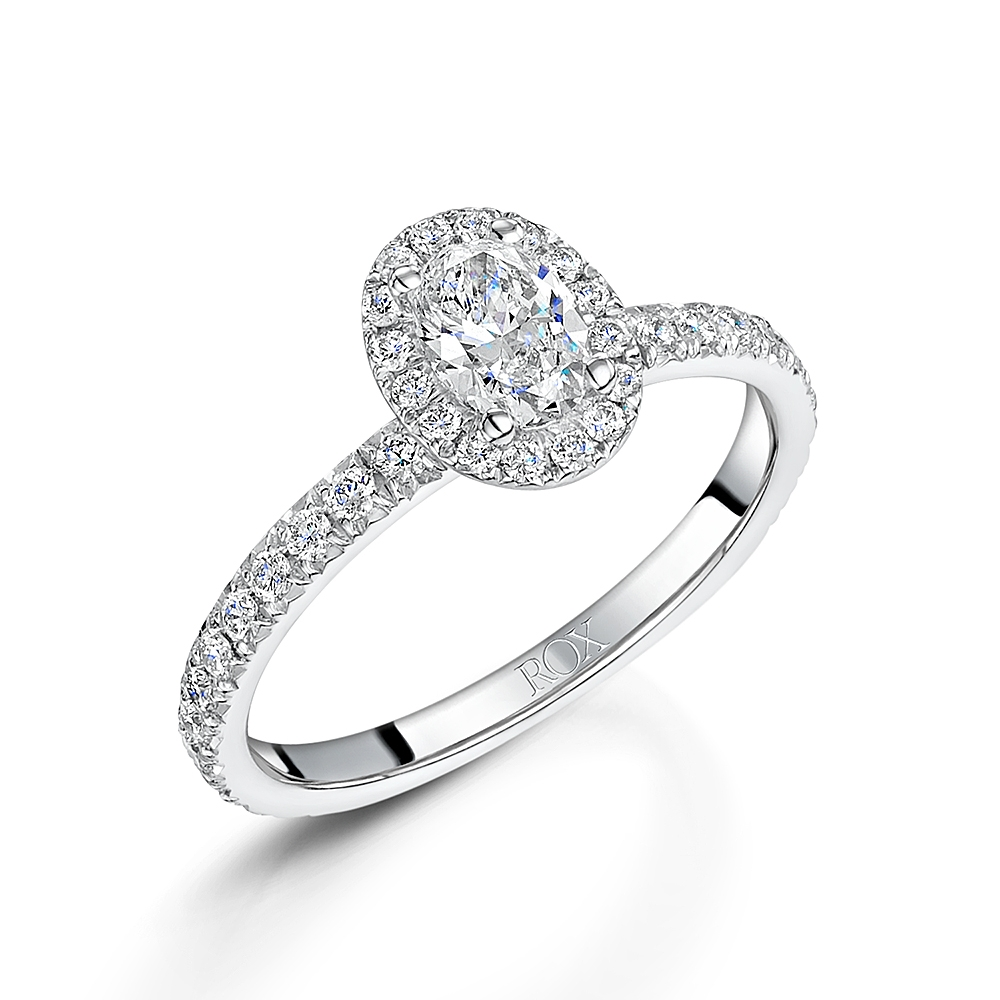 Halo Oval Diamond Ring 1.00cts
