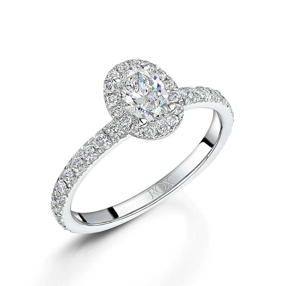Halo Oval Diamond Ring 1.00cts