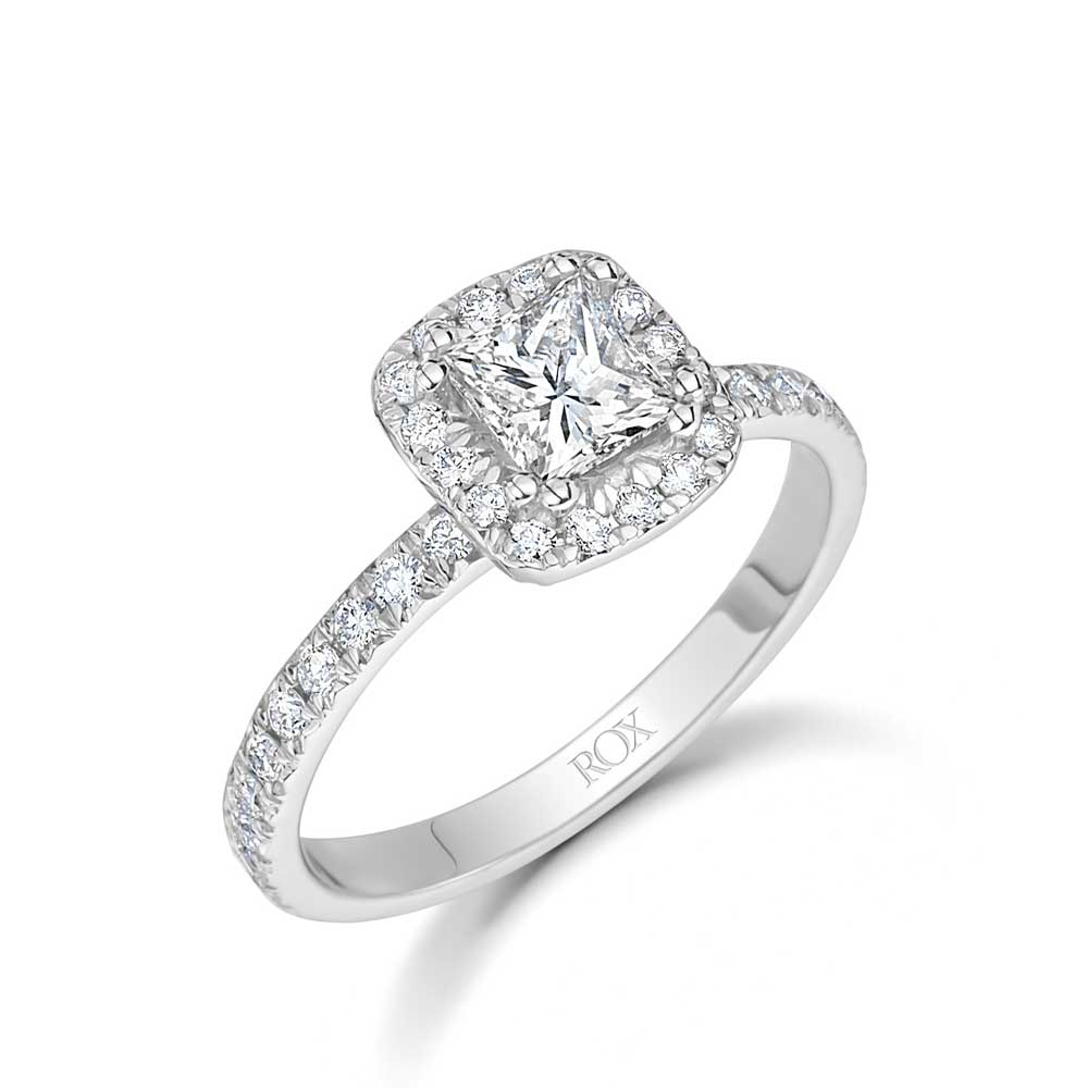 Princess Cut Diamond Halo Ring 1.25cts