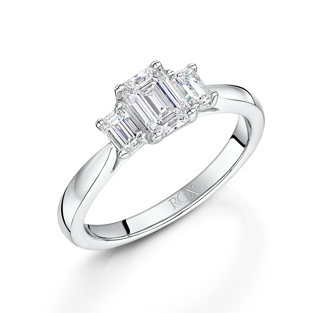 ROX Emerald Cut Trilogy Diamond Ring 1.00cts