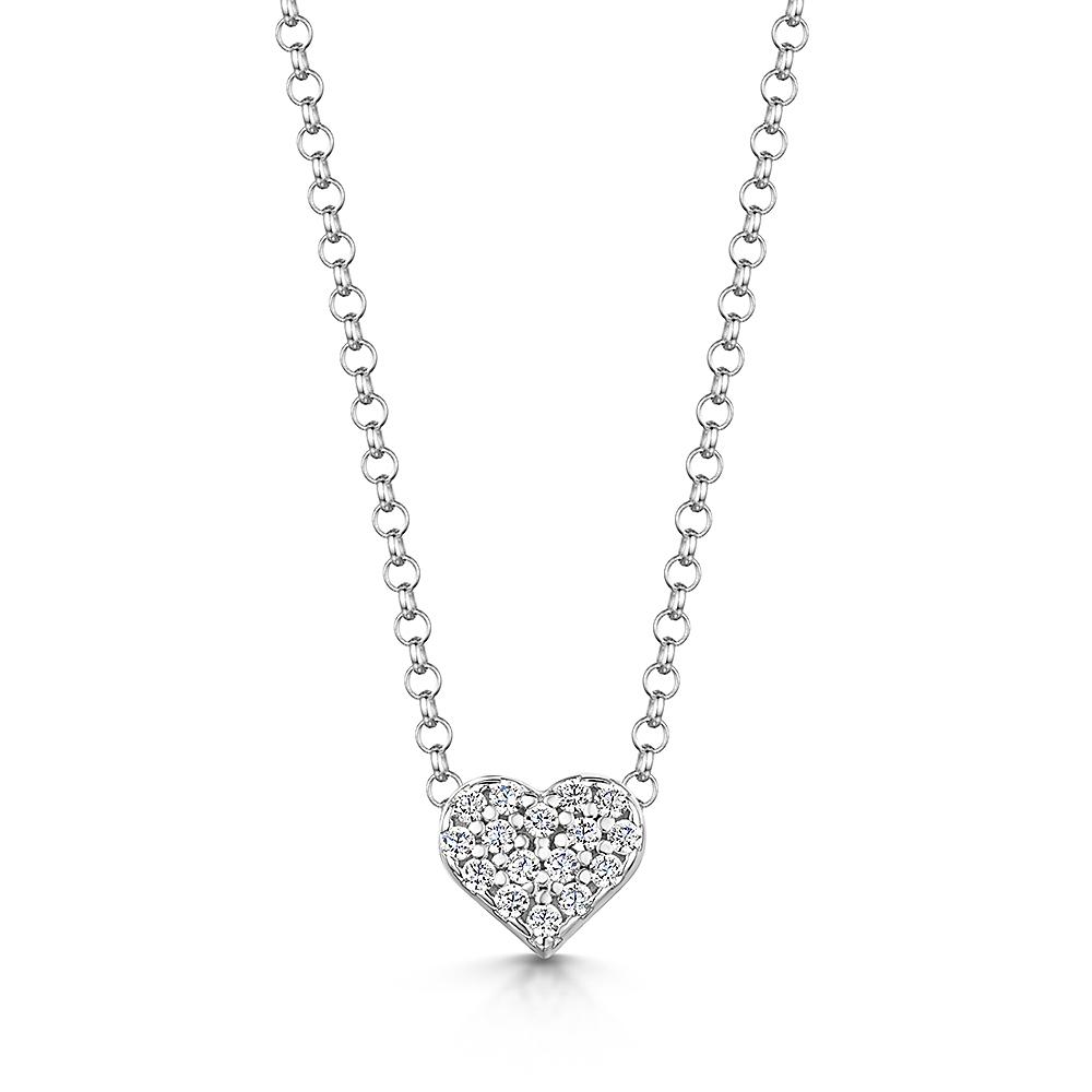 ROX Classic Silver Pave Heart Pendant