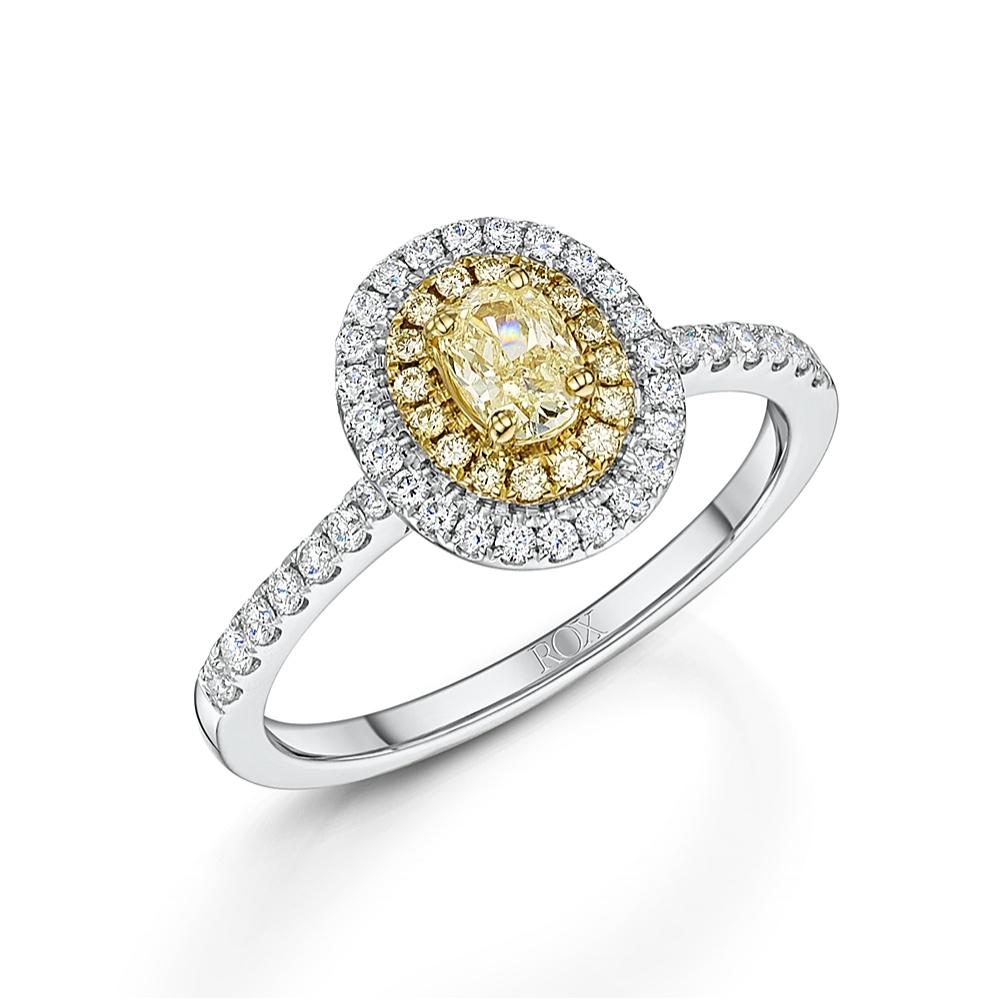 Yellow Oval Halo Diamond Ring