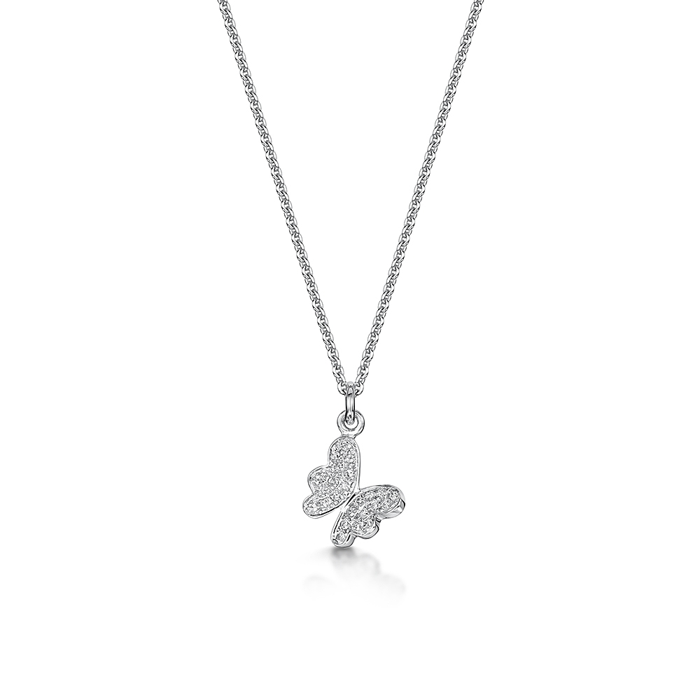 ROX Diamond Butterfly Necklace 0.06cts