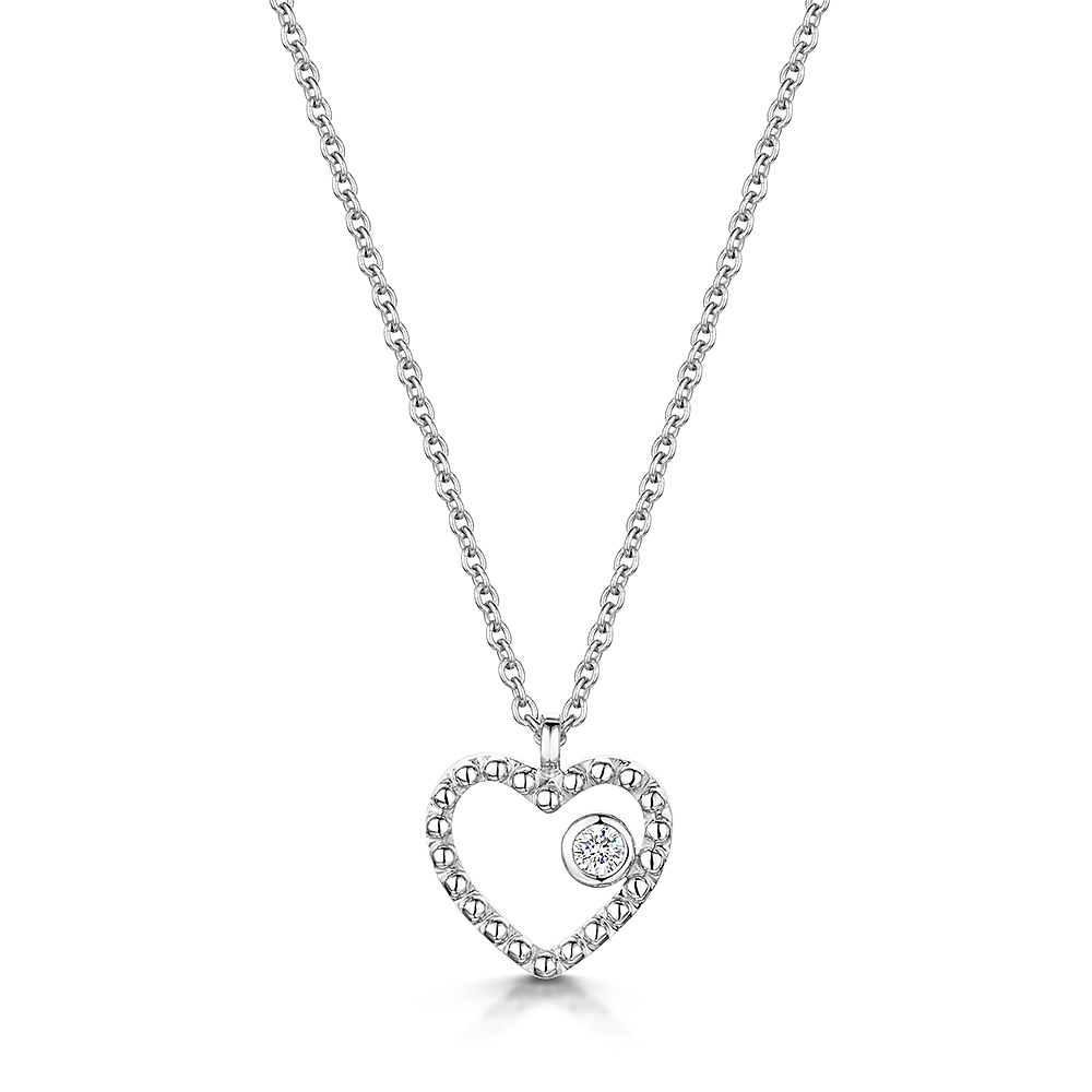 ROX Diamond Beaded Heart Pendant 0.03cts