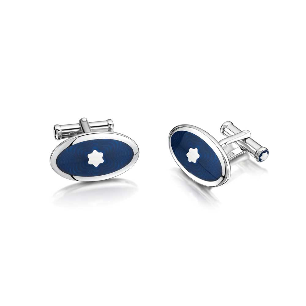Montblanc Oval Blue Enamel Cufflinks
