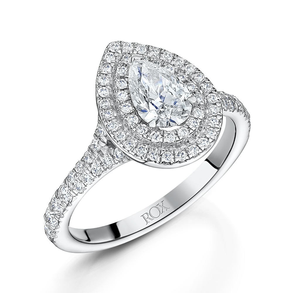 ROX Double Halo Pear Cut Ring
