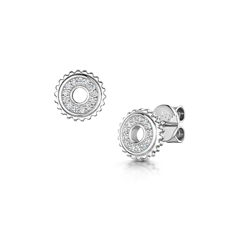 ROX Synchro Sterling Silver CZ Stud Earrings