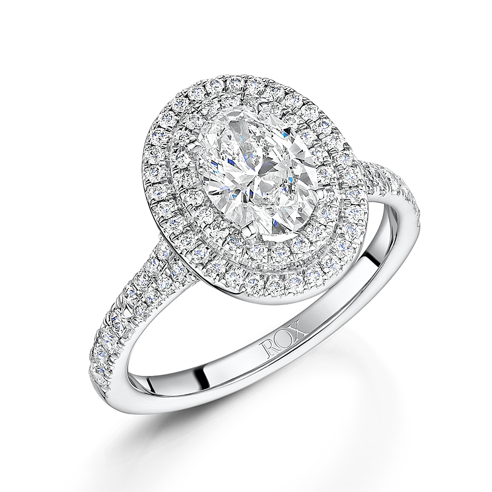 Oval Diamond Double Halo Ring 1.57ct
