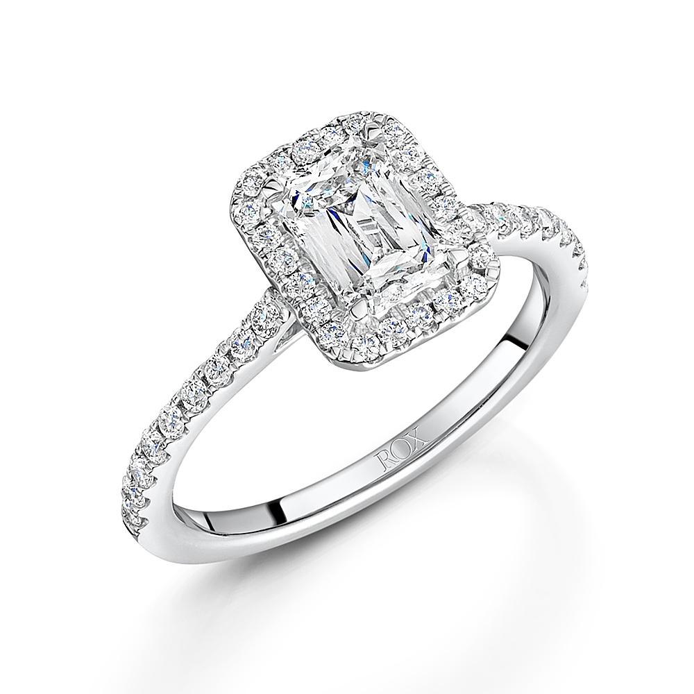 Crisscut Emerald Halo Diamond Ring 1.38ct