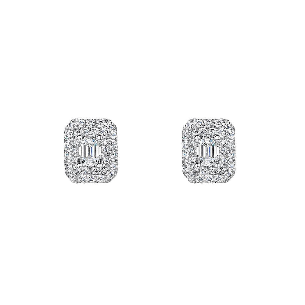Vintage Halo Diamond Earrings 0.75ct