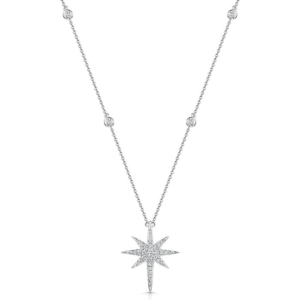 Diamond Star Pendant & Chain 0.51cts