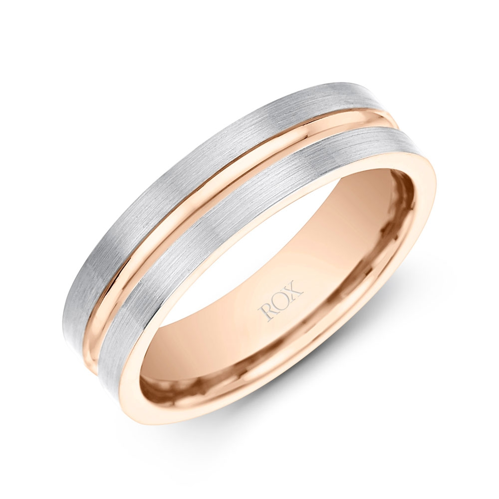 Gents Palladium and Rose Gold Wedding Ring