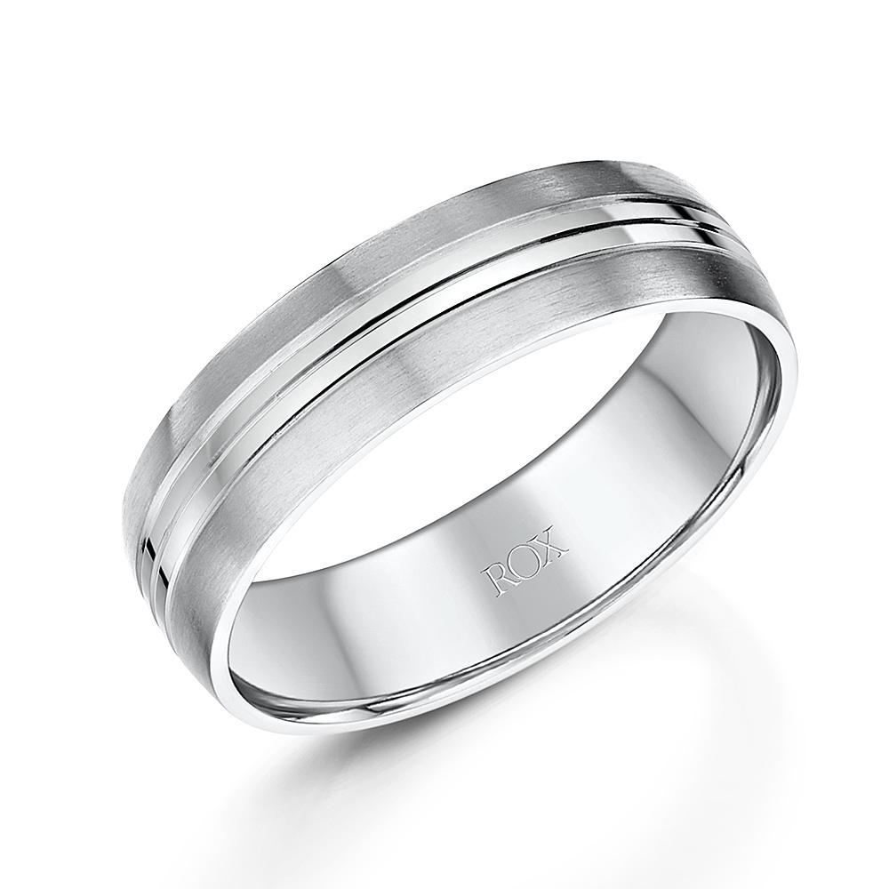 Gents Palladium Flat Court Wedding Ring 6mm