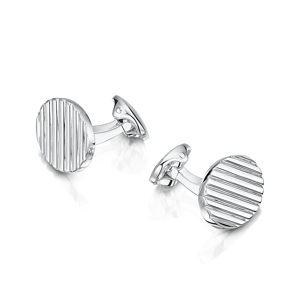 ROX Classic Oval Lathed Cufflinks