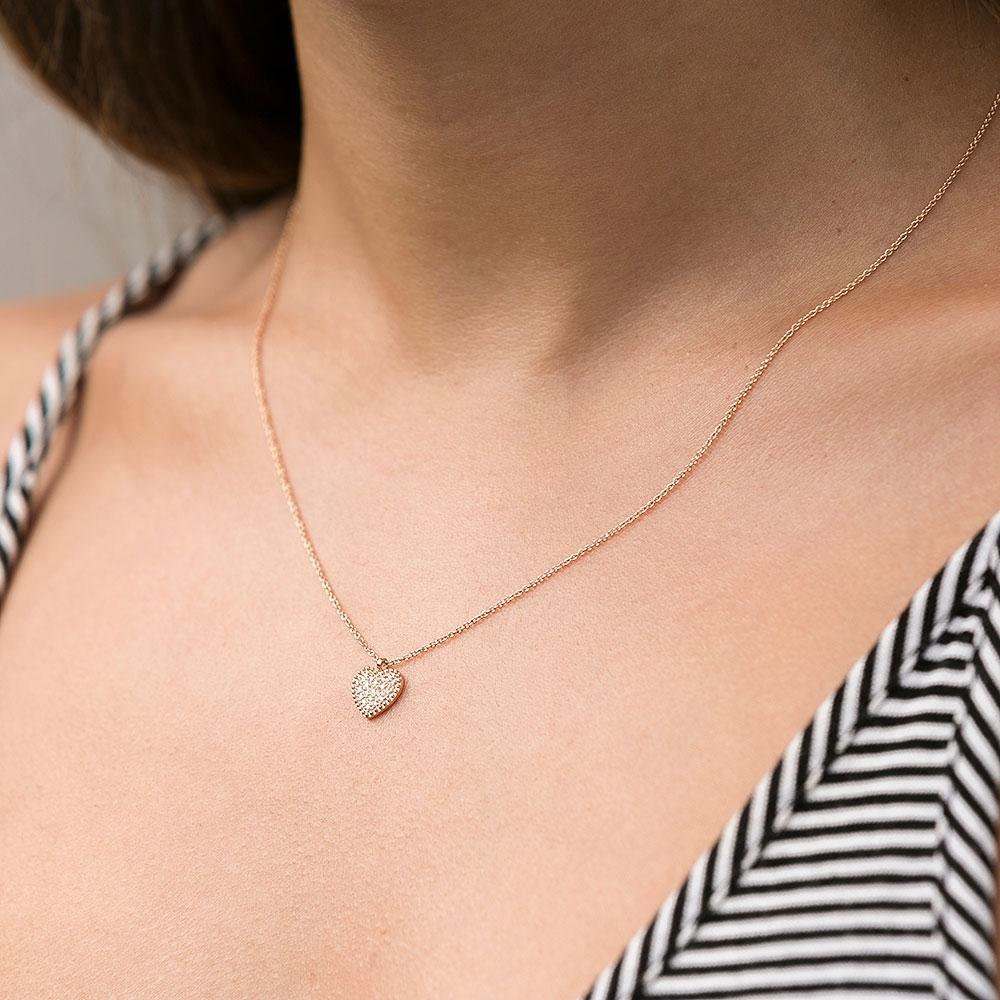 ROX Diamond Beaded Heart Pave Pendant 0.08cts