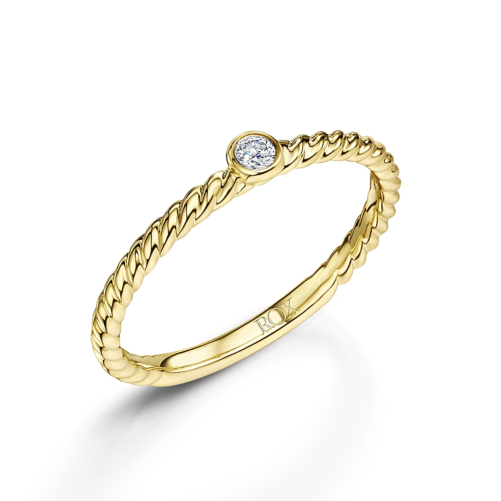 ROX Diamond Yellow Gold Stacking Ring 0.05cts