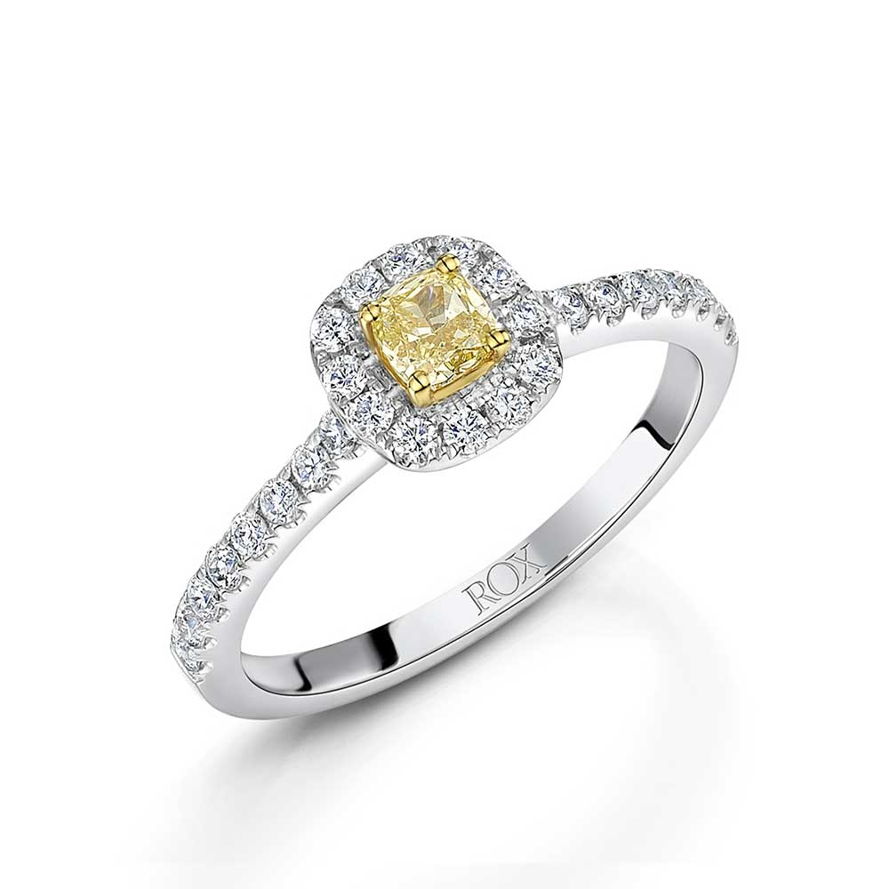 ROX Yellow Diamond Cushion Cut Halo Ring 0.69cts