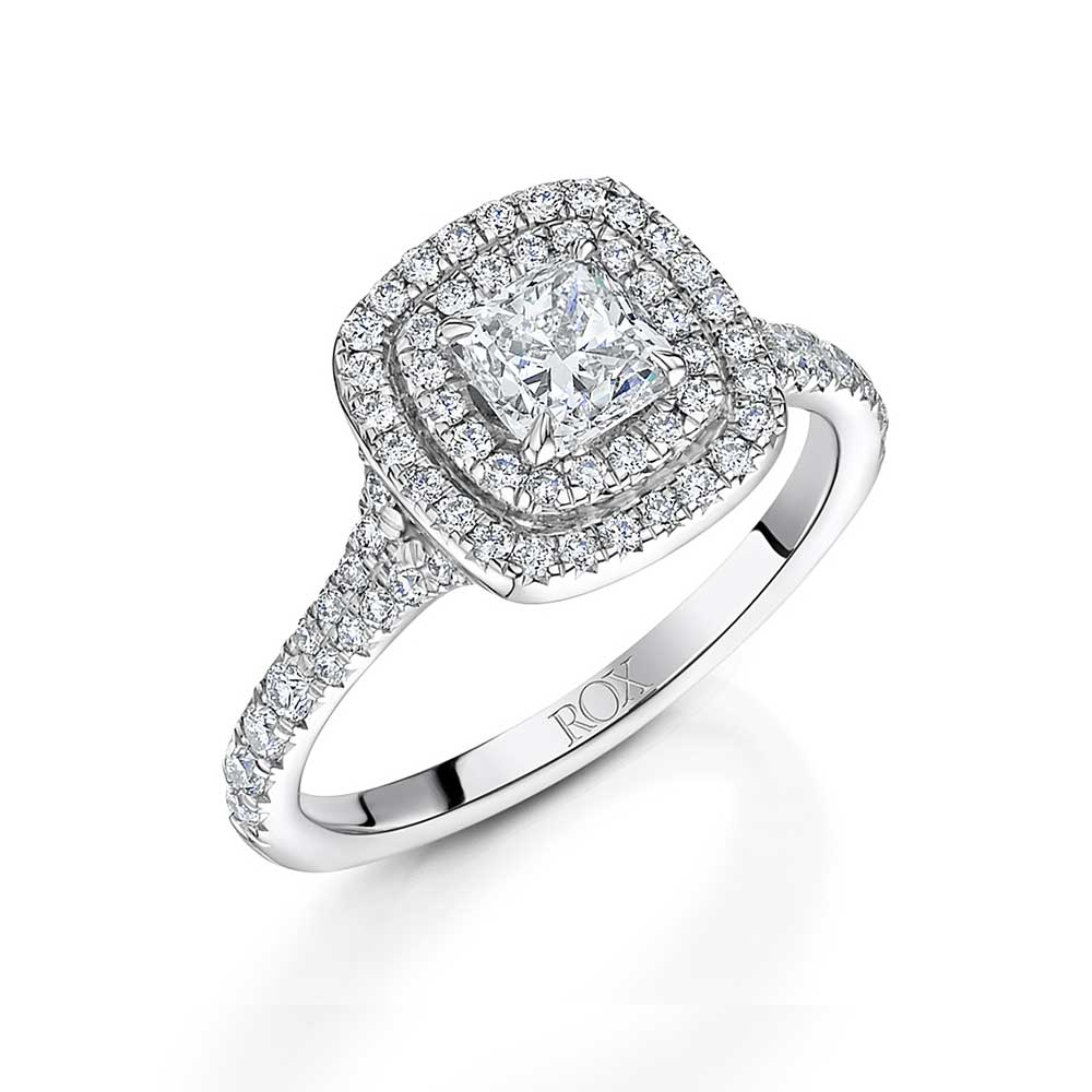 ROX Cushion Diamond Double Halo Ring 1.26cts