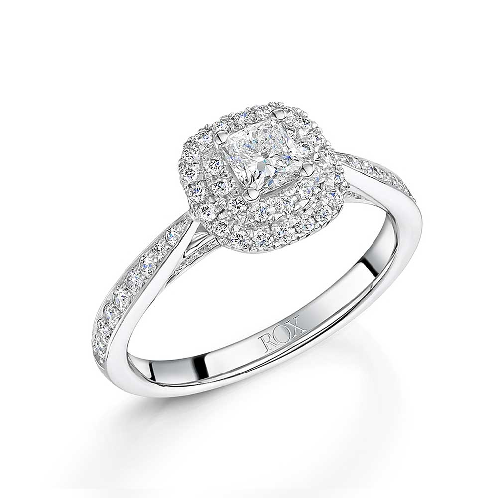 ROX Halo Cushion Cut Diamond Ring 0.66cts