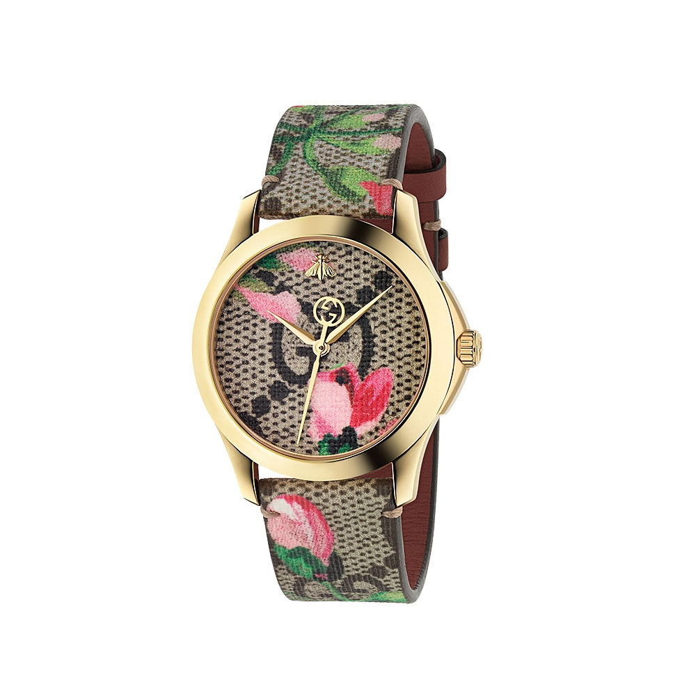 Gucci G-Timeless Pink Blooms Print Watch