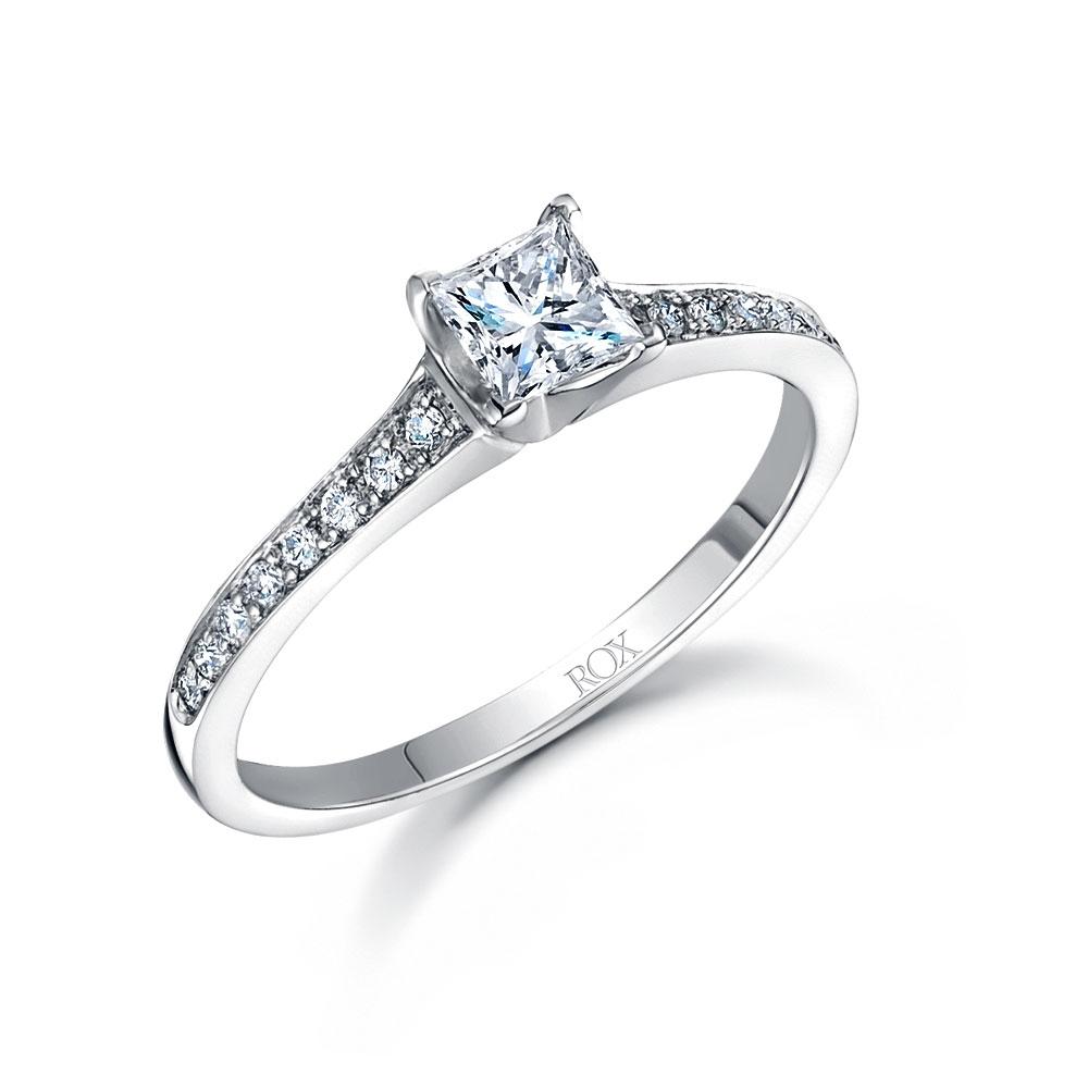 ROX Princess Cut Diamond Shoulder Ring 0.52cts