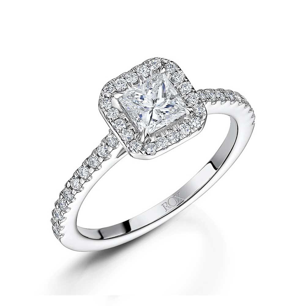 ROX Princess Diamond Halo Ring 1.13cts