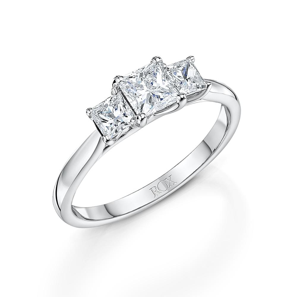 ROX Classic Princess Cut Trilogy Diamond Ring 1.00cts