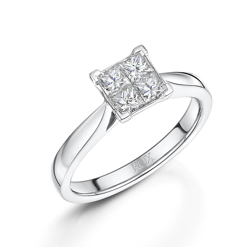 ROX Classic Princess Cut Illusion Diamond Ring 0.55cts