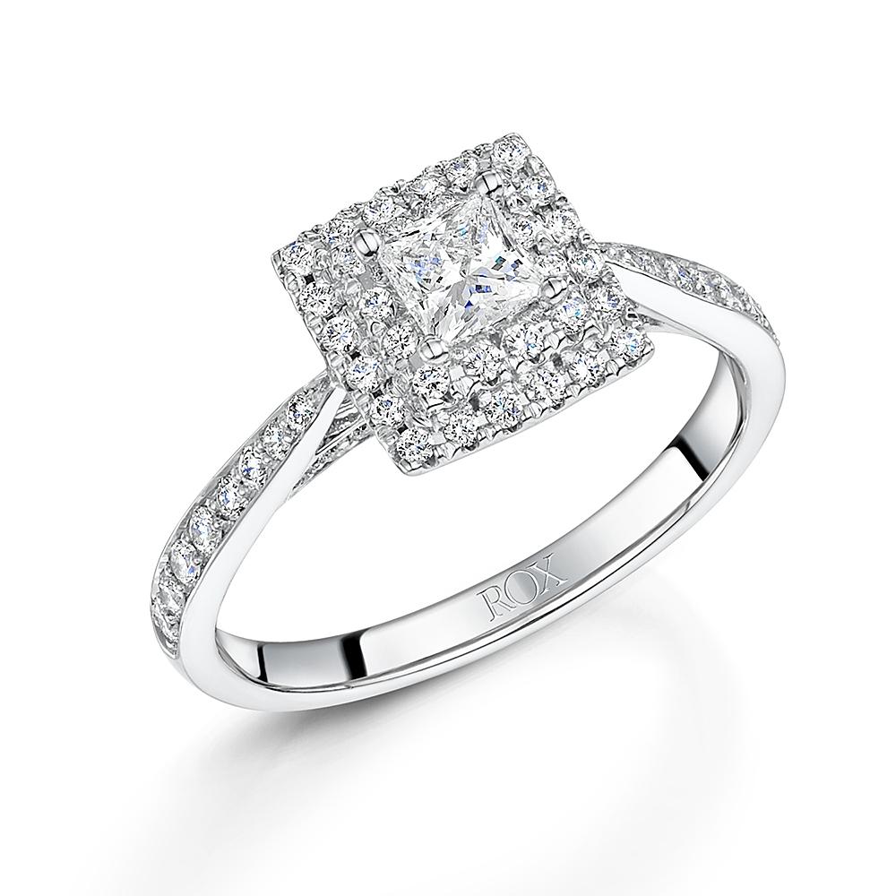 ROX Halo Princess Cut Diamond Ring 0.67cts