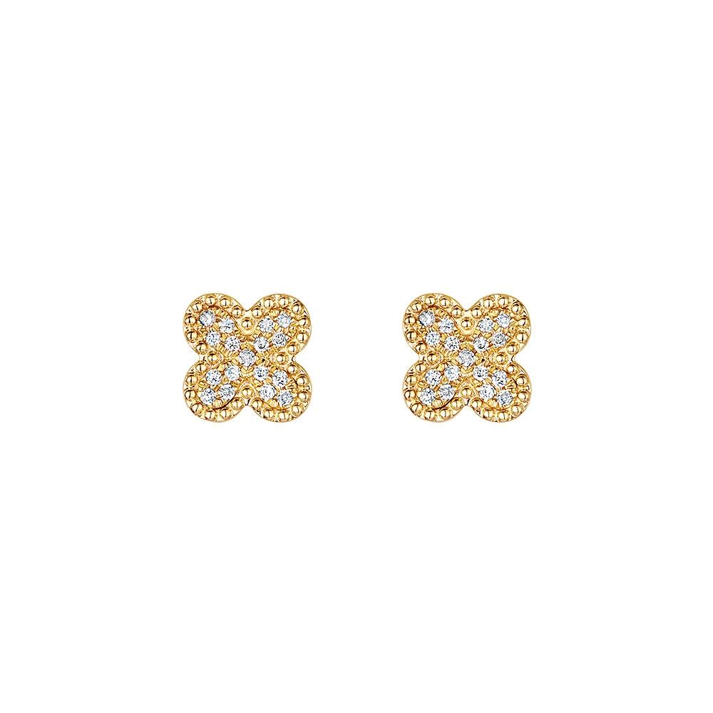 Diamond Beaded Flower Pave Earrings 0.11cts
