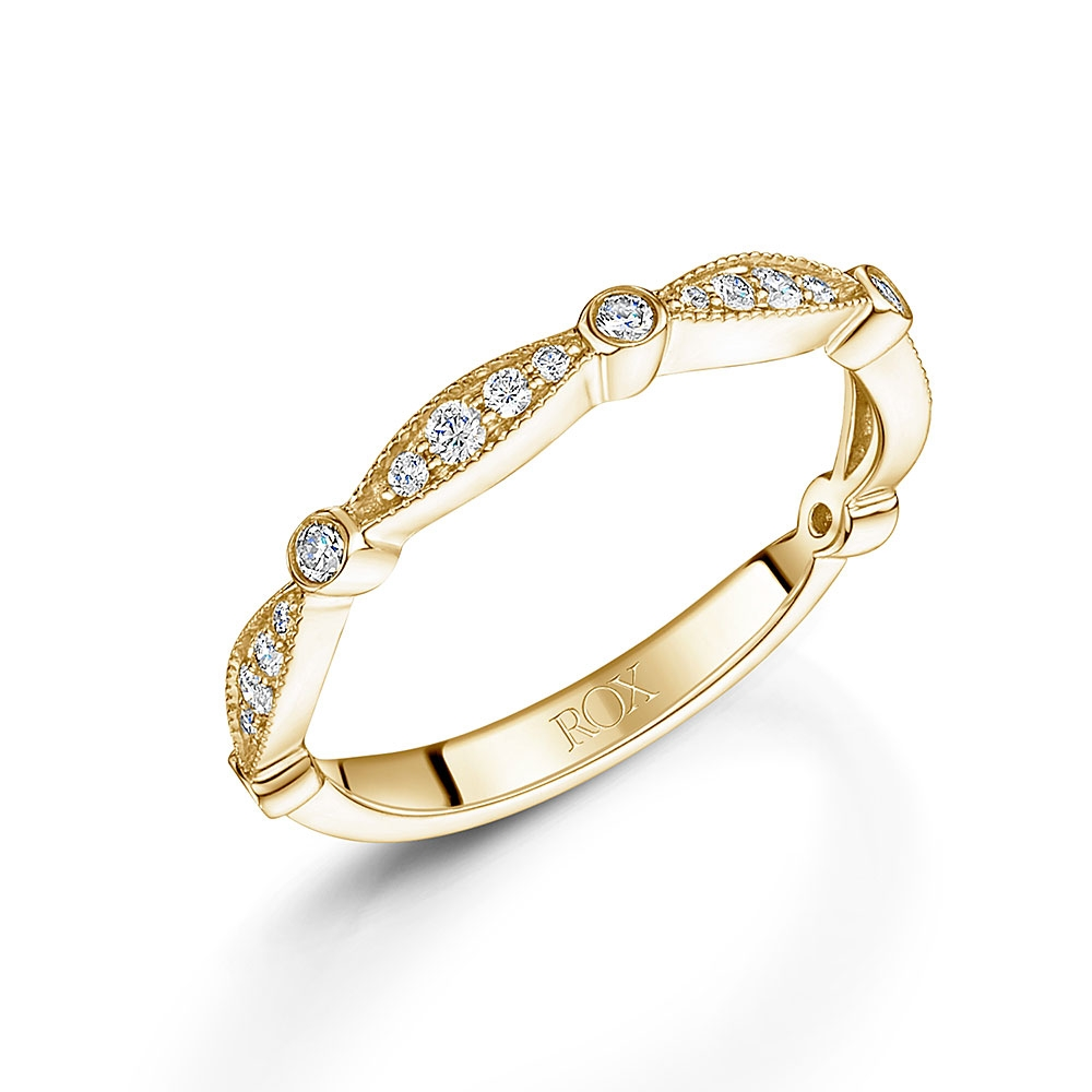 Pave Yellow Gold Stacking Ring 0.25cts