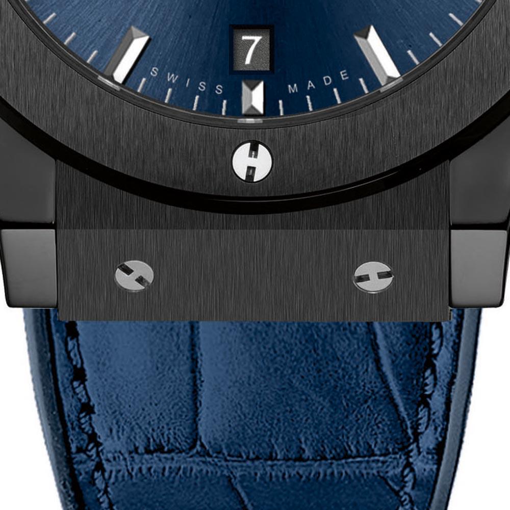 Hublot Classic Fusion Black Ceramic Blue Watch 45mm 521.CM.7170.LR