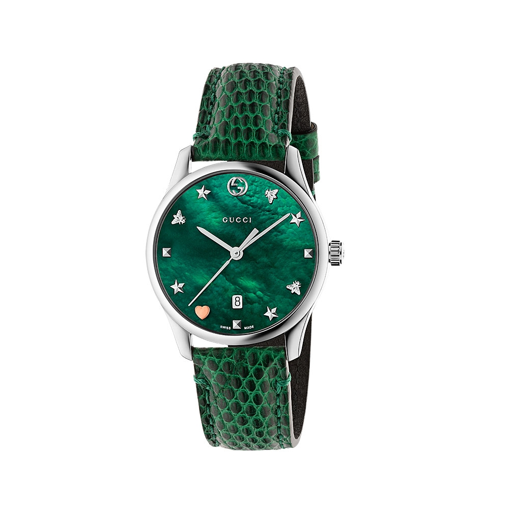 Gucci G-Timeless Green Leather Watch