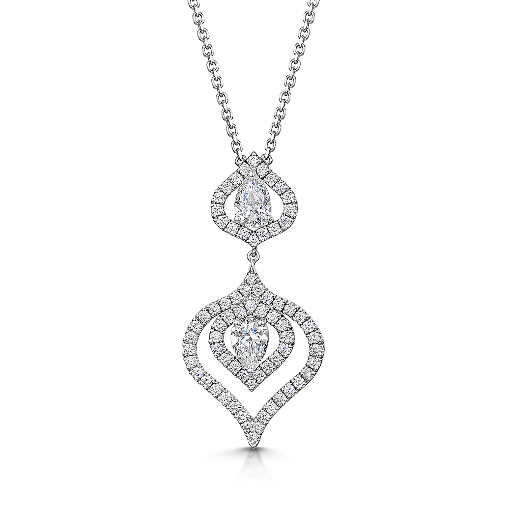 Floret Pear Diamond Drop Pendant 1.48cts