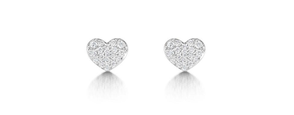 Diamond Heart Earrings 0.15cts
