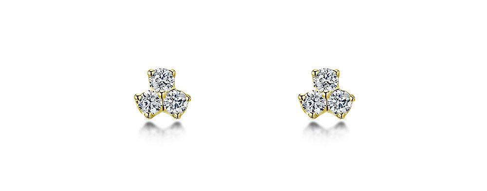 Diamond Three Stone Earrings 0.15cts