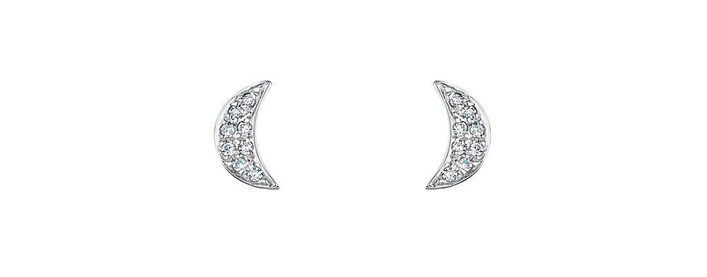 Diamond Moon Stud Earrings 0.04cts