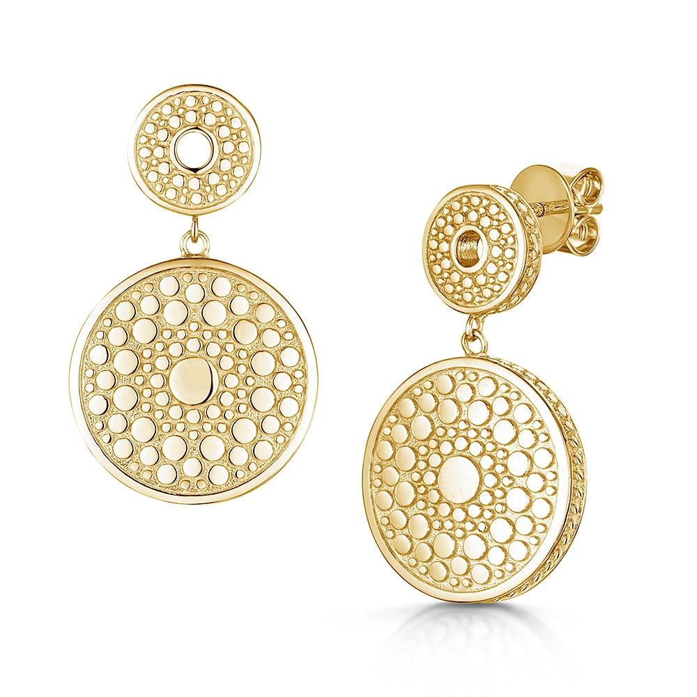 ROX Boho Gold Vermeil Double Disc Earrings