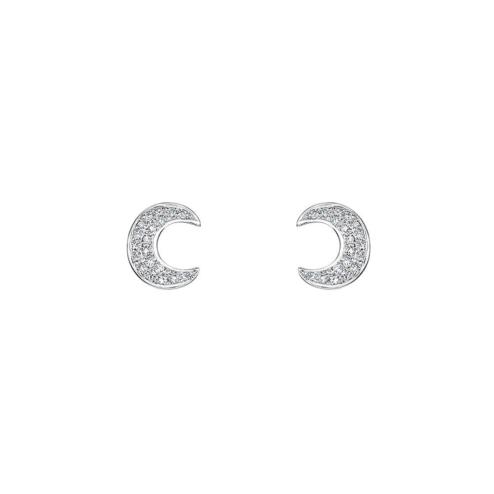 ROX Diamond Moon Stud Earrings 0.08cts