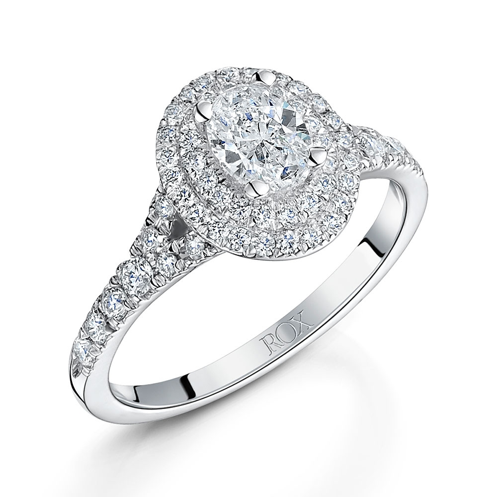 ROX Oval Cut Diamond Halo Ring 0.95cts