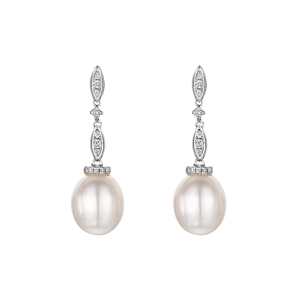 ROX Pearl and Diamond Drop Earrings 0.12cts