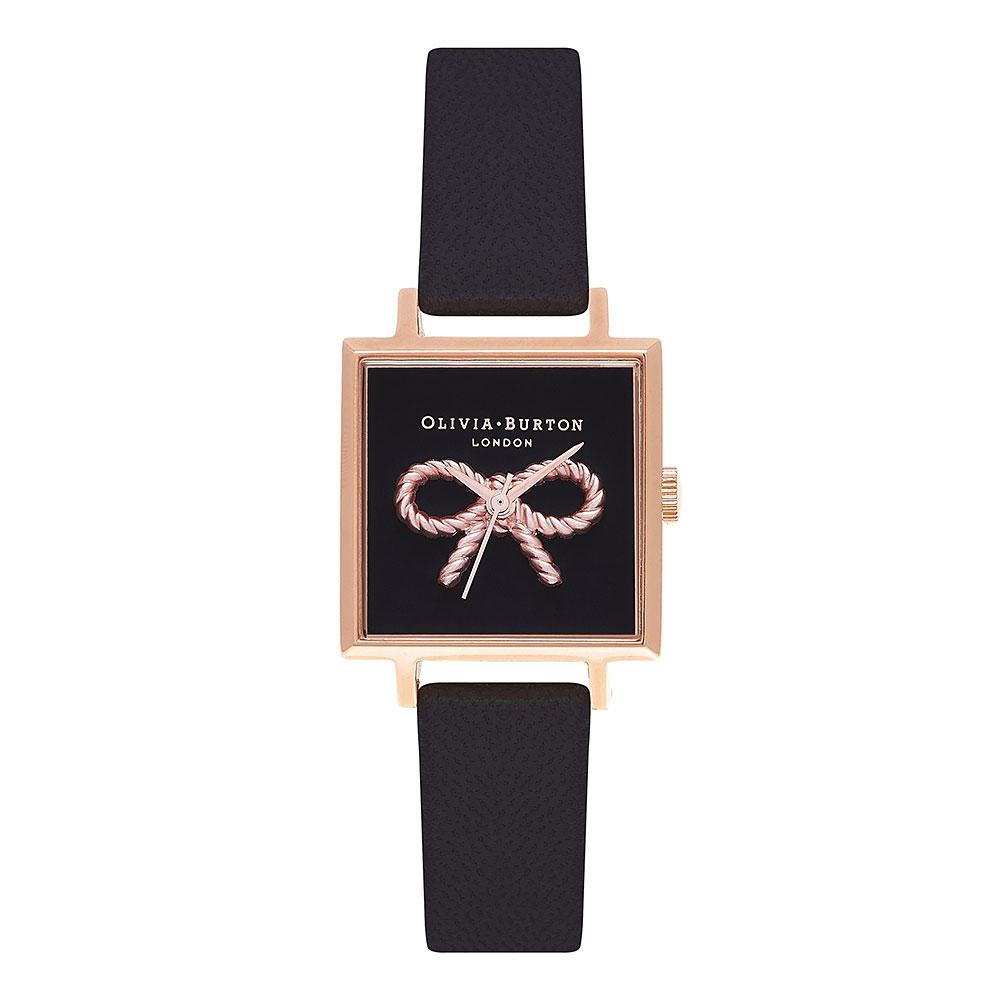 Olivia Burton Vintage 3D Bow Black Strap Watch