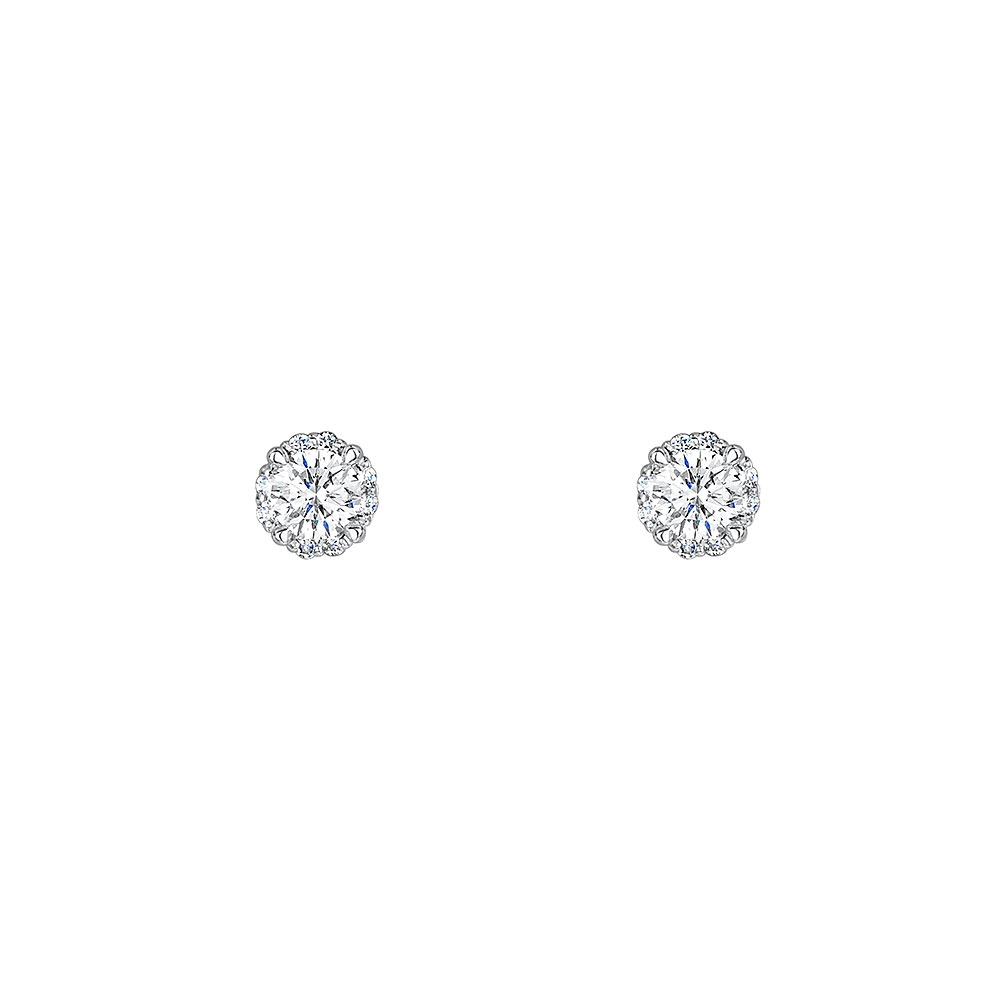 Solitaire Halo Diamond Earrings 0.40cts