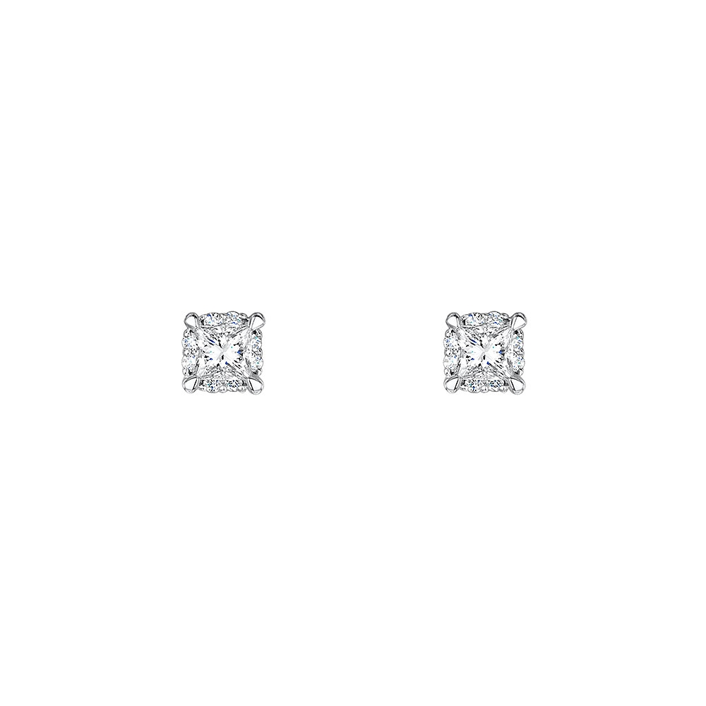 Solitaire Halo Diamond Earrings 0.44cts