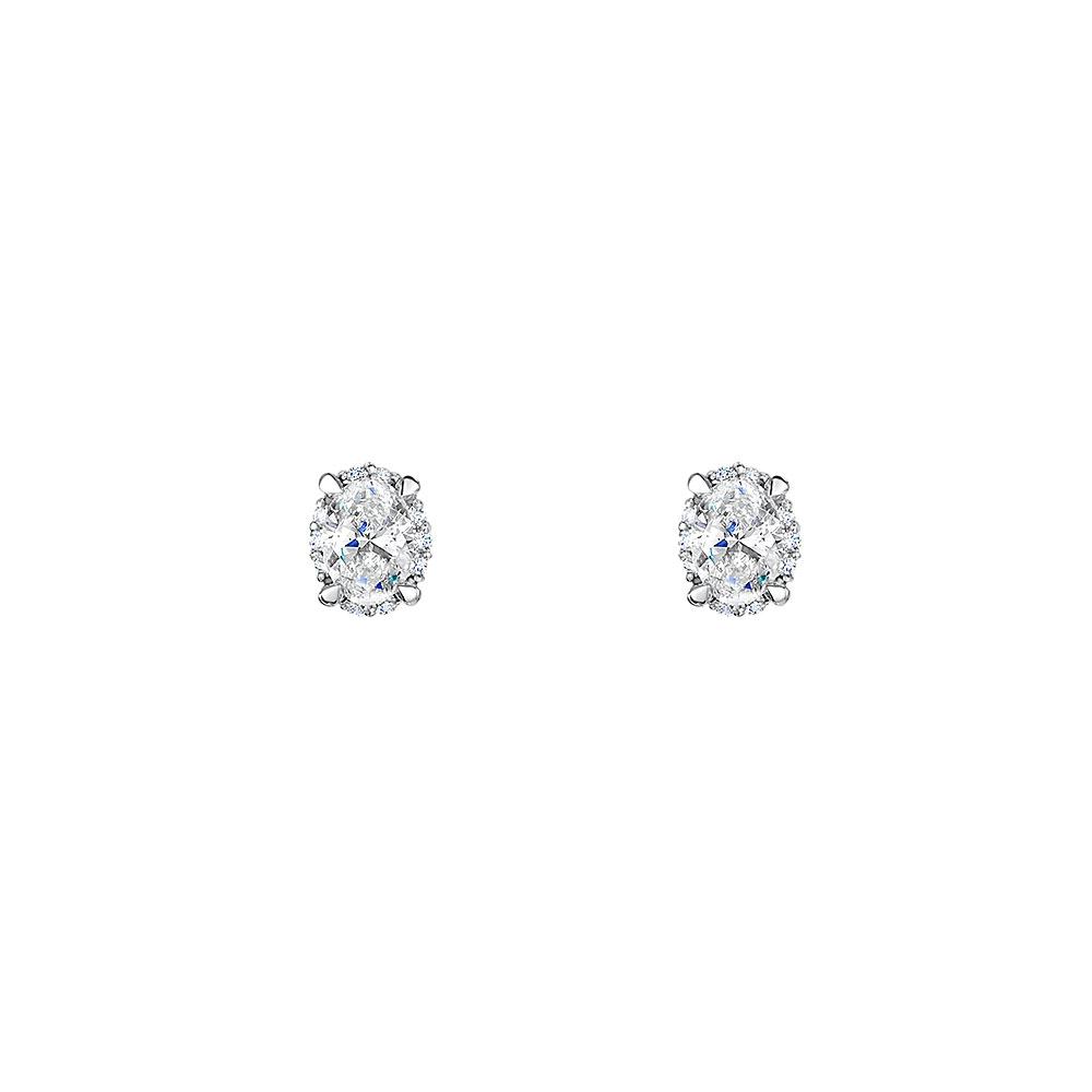 Diamond Halo Oval Earrings 0.46cts