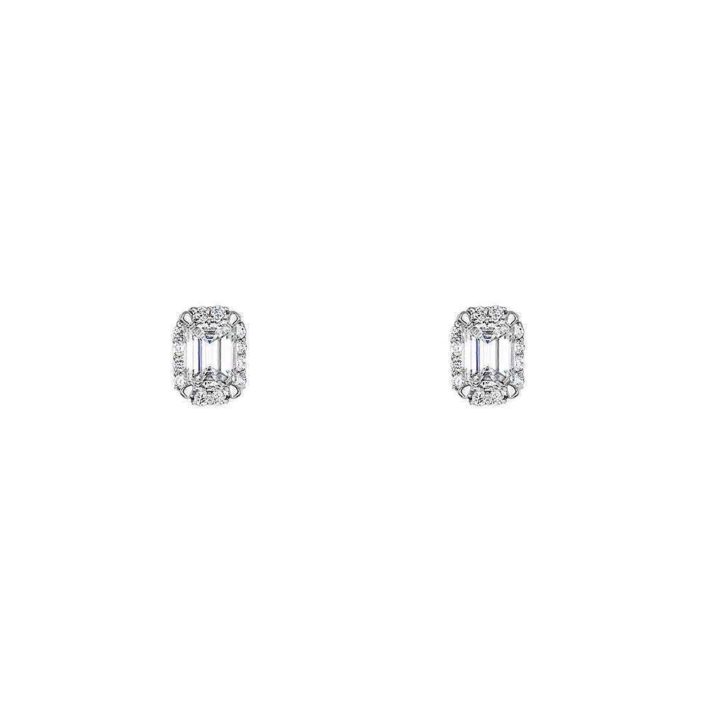 Solitaire Halo Diamond Earrings 0.47cts