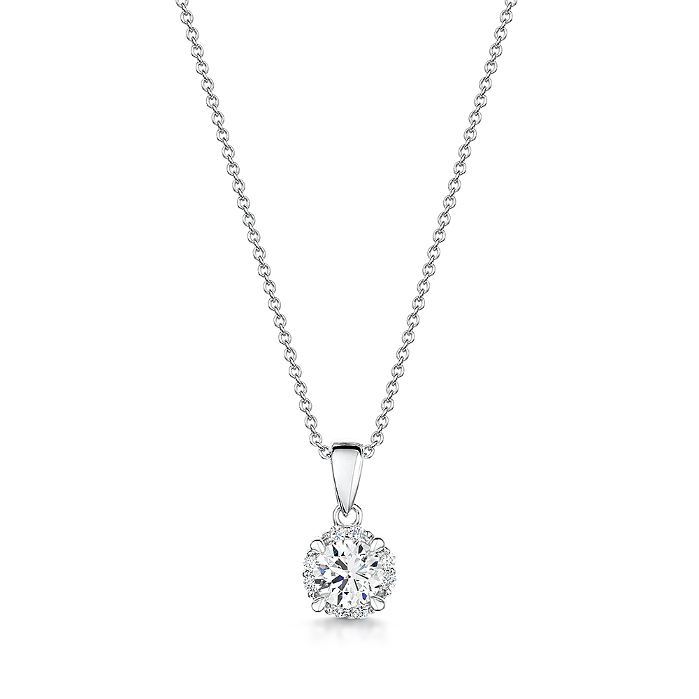 Solitaire Halo Diamond Necklace 0.27cts