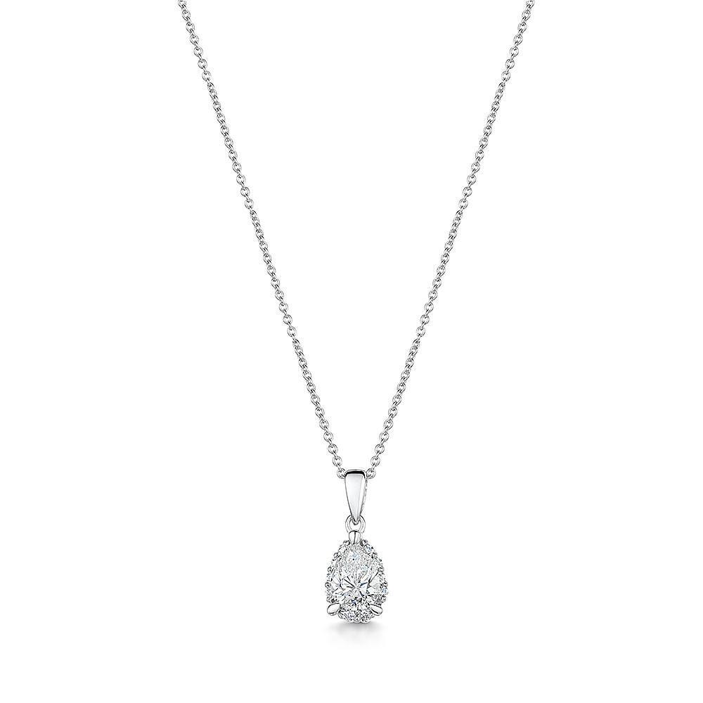 Diamond Halo Necklace 0.29cts