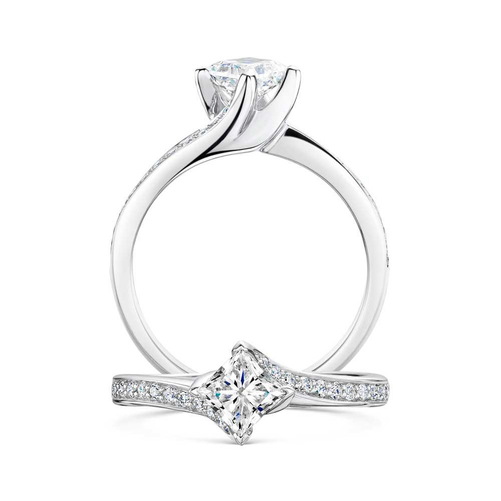 Twist Princess Cut Diamond Engagement Ring